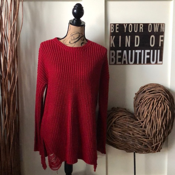 Hippie Rose Sweaters - Hippie Rose distressed red crew neck sweater